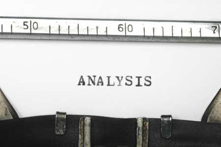 typed: word analysis typed on an old typewriter Stock Photo