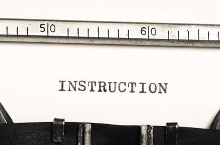 typed: word instruction typed on an old typewriter Stock Photo