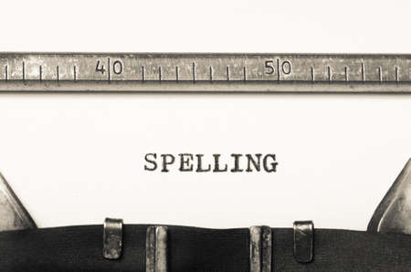 orthography: Word spelling  typed on an old typewriter