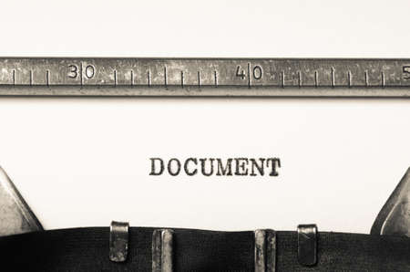 typed: Word document typed on an old typewriter Stock Photo