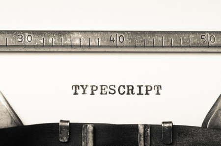 typescript: Word typescript typed on an old typewriter