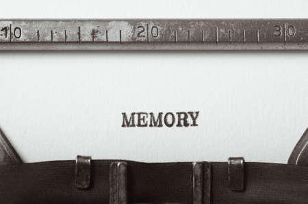 typed: word memory typed on old typewriter