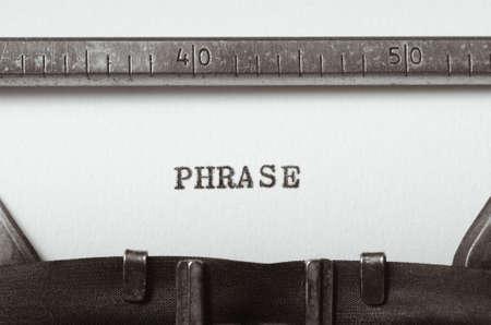 utterance: word phrase  typed on old typewriter Stock Photo