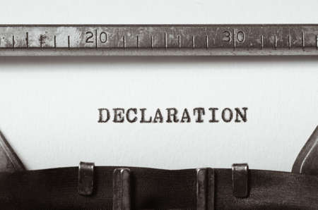 declaration: word declaration typed on old typewriter