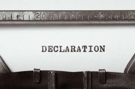 declaration: word declaration typed on old typewriter
