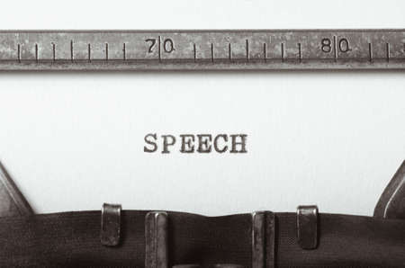 parlance: word speech typed on old typewriter Stock Photo