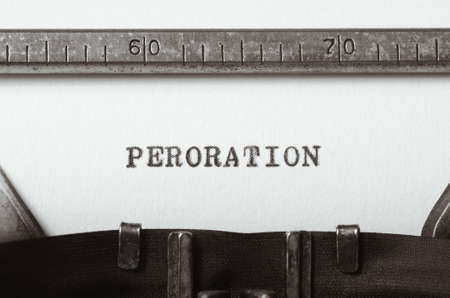 oration: word peroration typed on old typewriter