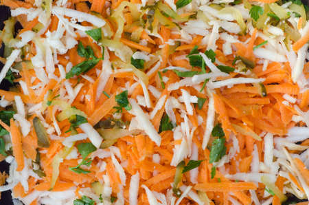 shreded vegetable salad on plate