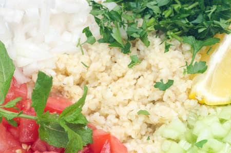 tabbouleh: tabbouleh lebanese salad with bulglur and fresh vegetables