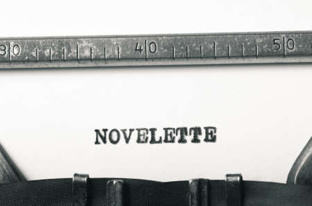 typed: word novelette typed on old typewriter