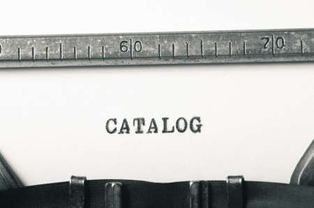 typed: word catalog typed on old typewriter Stock Photo