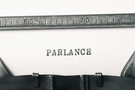 parlance: word parlance typed on old typewriter Stock Photo