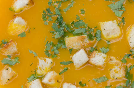 pumpkin soup: pumpkin soup with parsley and croutons