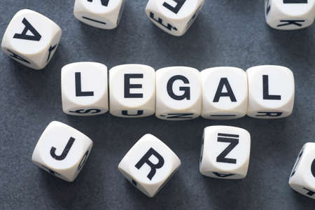 rightful: word legal on white toy cubes