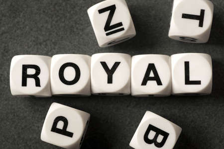 orthography: word royal on white toy cubes