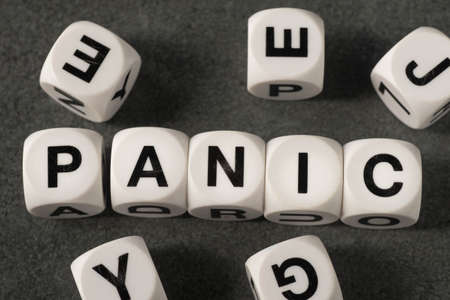 orthography: word panic on white toy cubes