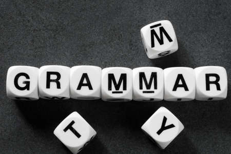 orthography: word grammar on white toy cubes Stock Photo