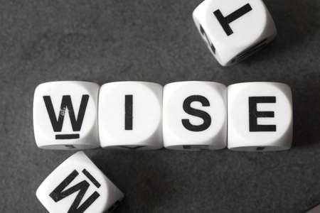 sagacious: Word wise on white toy cubes