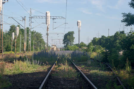 abandoned rail track to nowere Stock Photo