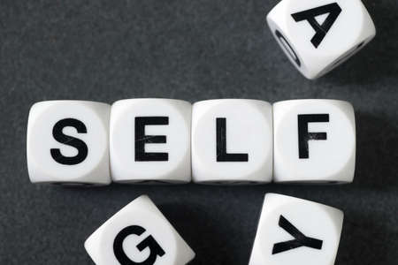 orthography: word self  on white toy cubes Stock Photo