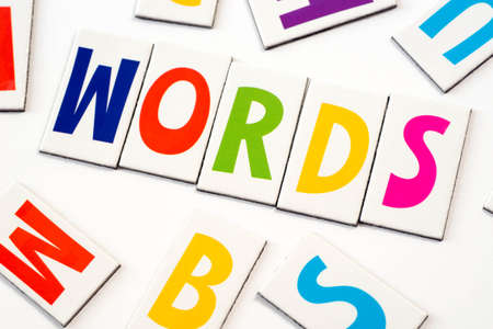 orthography: word words made of colorful letters on white background Stock Photo