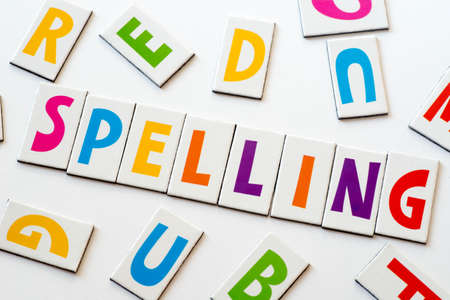 word spelling  made of colorful letters on white background Stock Photo