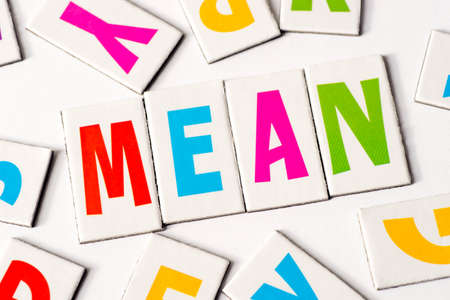 orthography: word mean made of colorful letters on white background