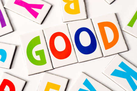 orthography: word good made of colorful letters on white background Stock Photo