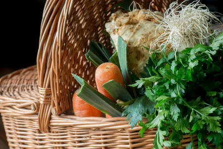 raw vegetables in basket closeup Stock Photo