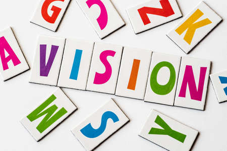 orthography: Word VISION made of colorful letters on white background Stock Photo