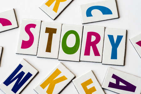 orthography: Word STORY made of colorful letters on white background