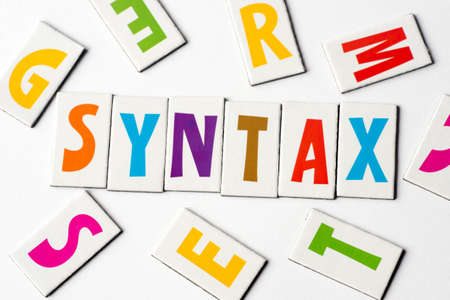 word syntax made of colorful letters on white background Stock Photo