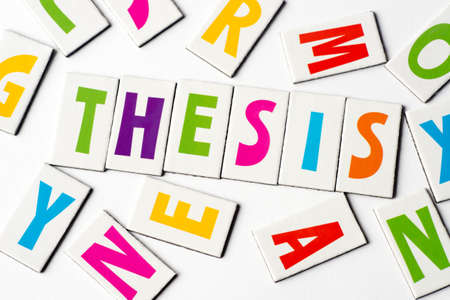 Word thesis made of colorful letters on white background Stock Photo