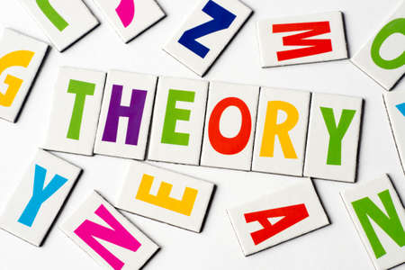 Word theory made of colorful letters on white background
