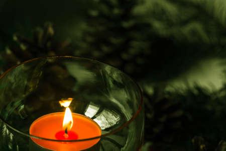closeup to Christmas tealight candle  decoration