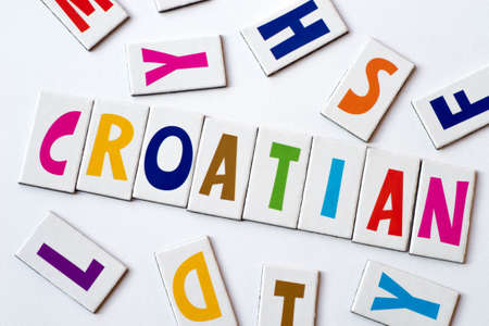 word Croatian made of colorful letters on white background