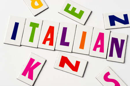 word Italian  made of colorful letters on white background