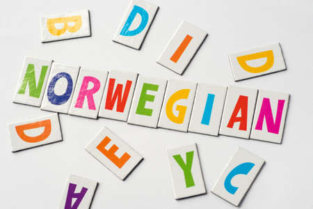 Word Norwegian made of colorful letters on white background