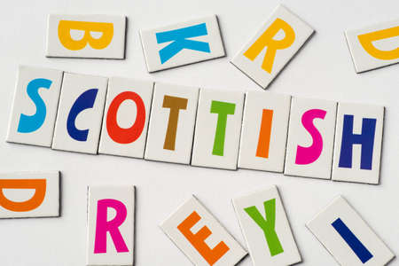 Word Scottish made of colorful letters on white background