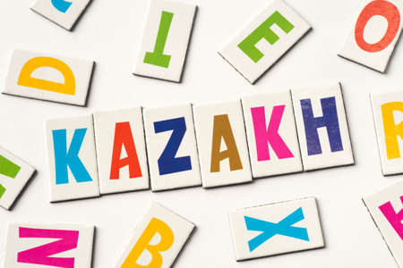 Word Kazakh made of colorful letters on white background