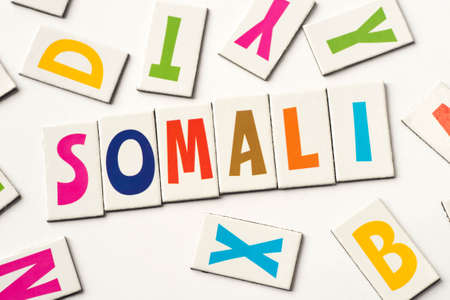 Word Somali made of colorful letters on white background Foto de archivo