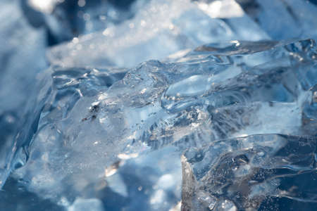 blue ice pieces macro selective focus