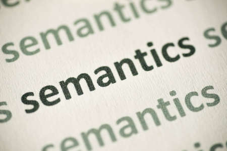 word semantics printed on white paper macro