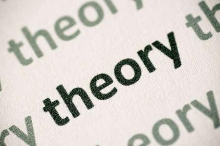 word theory printed on white paper macro Stock fotó