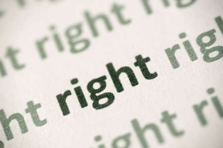 word right printed on white paper macro