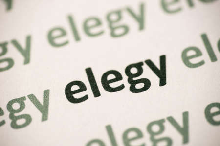 word elegy  printed on white paper macro