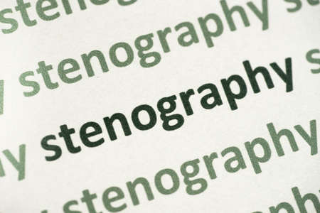 word stenography printed on white paper macro Banque d'images - 105314038