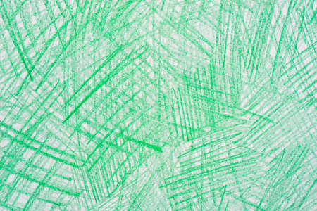green color crayon drawings on  paper background texture Stock Photo