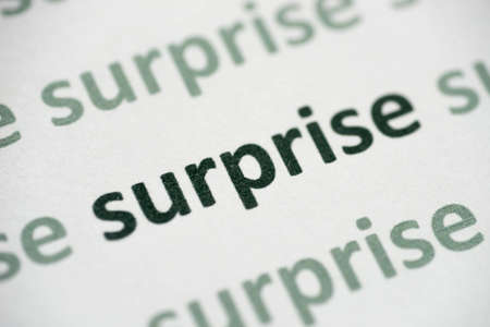 Word surprise  printed on white paper macro Foto de archivo - 105737095