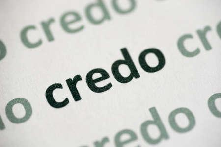 word credo printed on white paper macro